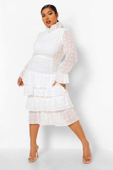 Cream white Plus Polka Dot Ruffle Tiered Midi Dress