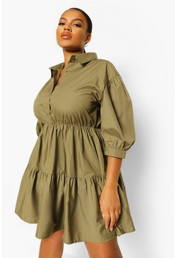 Khaki Plus Tiered Smock Shirt Dress