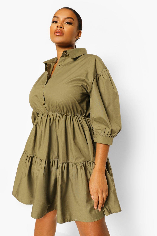 Plus Tiered Smock Shirt Dress 11