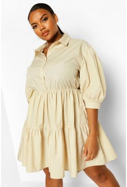 Stone beige Plus Tiered Smock Shirt Dress