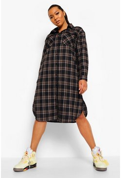 Black Plus Check Longline Shirt Dress