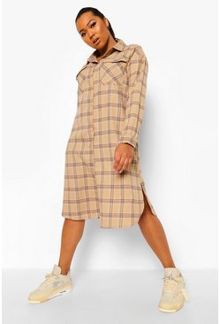 Stone beige Plus Flannel Longline Shirt Dress