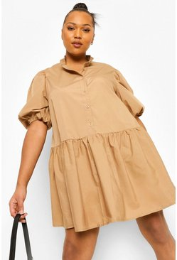 Camel beige Plus Shirt Smock Dress
