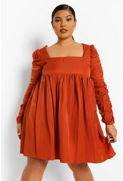 Rust orange Plus Ruched Sleeve Skater Dress