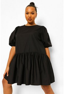 Black Plus Cotton Puff Sleeve Tiered Smock Dress