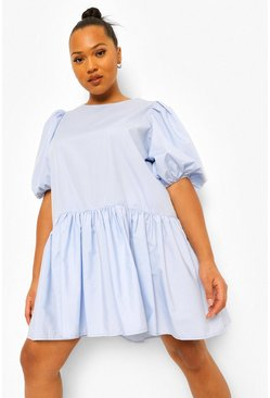 Blue Plus Cotton Puff Sleeve Tiered Smock Dress