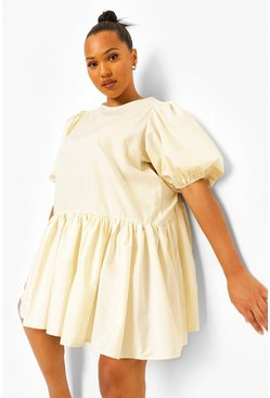 Cream white Plus Cotton Puff Sleeve Tiered Smock Dress