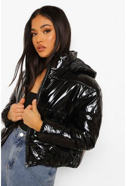 Black Petite Hooded Crop High Shine Coat