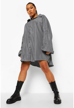 Black Plus Pinstripe Oversized Shirt Dress