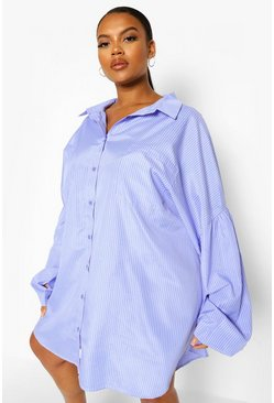 Blue Plus Pinstripe Oversized Shirt Dress