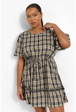 Black Plus Check Tiered Smock Dress