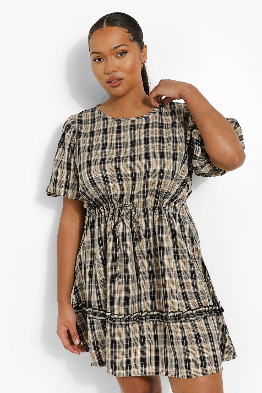Plus Check Tiered Smock Dress | boohoo