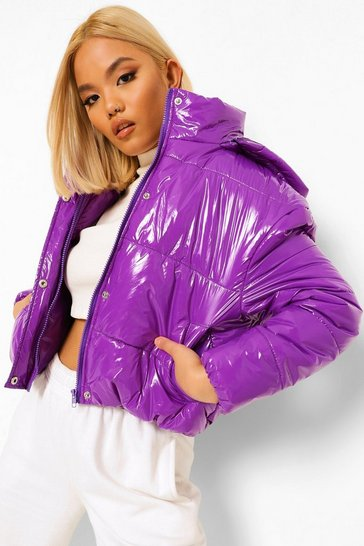 Purple Petite Hooded Crop High Shine Coat