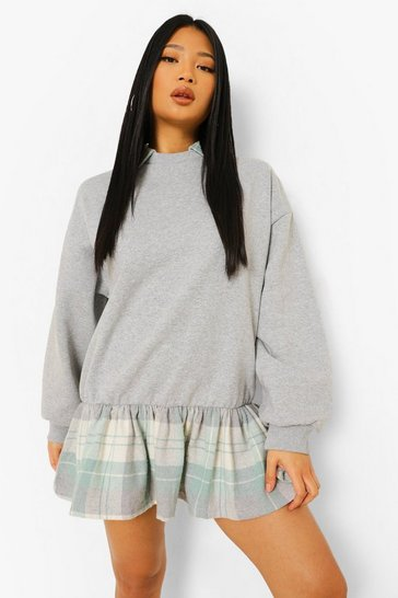 Grey marl grey Petite 2 In 1 Check Shirt Detail Sweat Dress