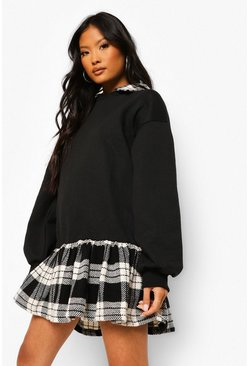 Petite 2 In 1 Check Shirt Detail Sweat Dress, Black noir