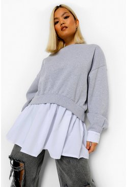 Grey Marl Petite 2 In 1 Shirt Detail Sweatshirt