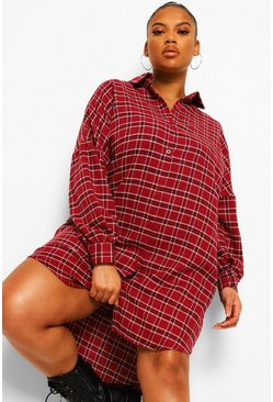 Red Plus Check Oversized Shirt Dress