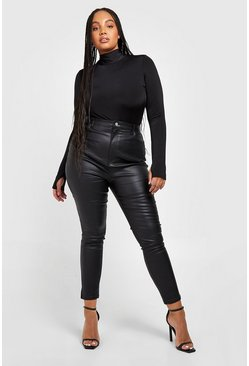 Black Plus Pu Coated Skinny Jean
