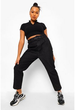 Black Plus Self Fabric Belted Jean