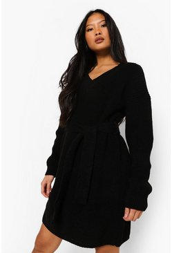 Black Petite Belted V-Neck Sweater Dress