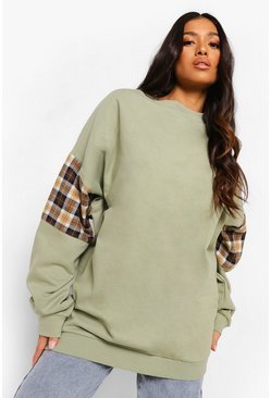 Khaki Petite Check Panel Oversized Sweatshirt