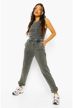 Black Petite Acid Wash Slogan Oversized Joggers