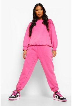 Bright pink pink Petite Acid Wash Slogan Oversized Joggers