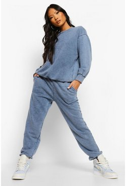 Cobalt blue Petite Acid Wash Slogan Oversized Joggers