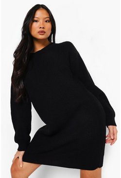 Black Petite Crew Neck Jumper Dress
