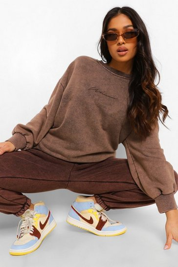 Chocolate brown Brown Petite Woman Print Acid Wash Sweater