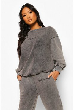 Grey marl Petite Woman Print Acid Wash Sweater