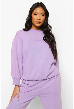 Lilac purple Petite Woman Print Acid Wash Sweater