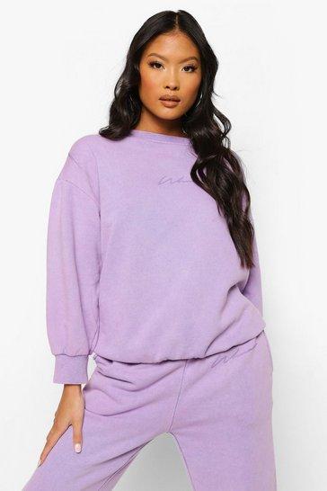 Lilac purple Purple Petite Woman Print Acid Wash Sweater