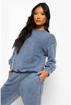 Cobalt blue Petite Acid Wash Gebleekte Oversized Sweater Met Tekst