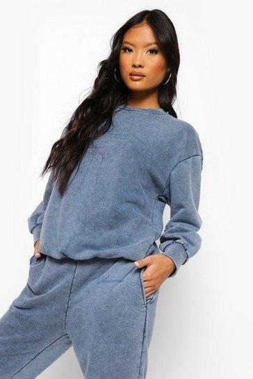 Cobalt blue Blue Petite Woman Print Acid Wash Sweater