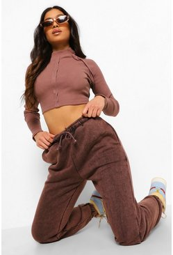 Chocolate brown Petite Acid Wash Slogan Oversized Joggers