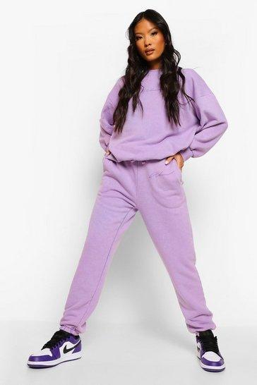 Lilac purple Purple Petite Acid Wash Slogan Oversized Joggers