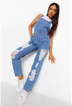 Mid blue blue Petite Distressed Denim Overalls