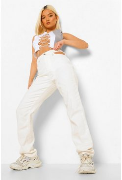 Ecru white Petite Cut Out High Waist Straight Leg Jean