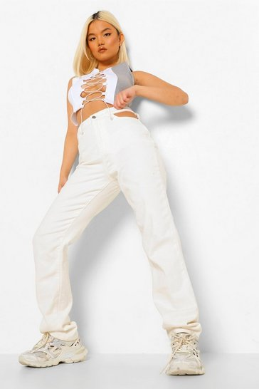 Ecru white Petite Cut Out High Waist Straight Leg Jeans