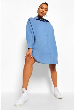 Mid blue blue Plus Oversized Chambray Boyfriend Shirt Dress