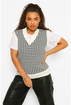 Black Plus Houndstooth Check Tank
