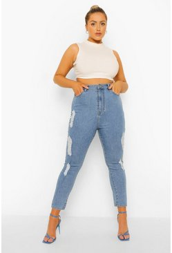 Mid blue blue Plus High Rise Super Distressed Skinny Jean