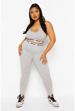 Grey Plus Ofcl Tape Jersey Lounge Leggings