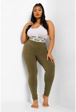 Khaki Plus Ofcl Tape Jersey Lounge Leggings