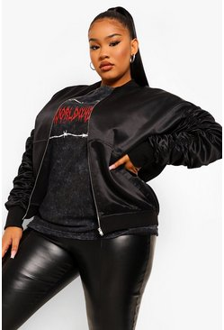 Black Plus Oversized Ruched Sleeve Satin Bomber
