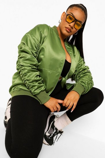 Khaki Plus Oversized Ruched Sleeve Satin Bomber