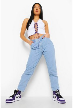 Light blue blue Petite V Front Mom Jean