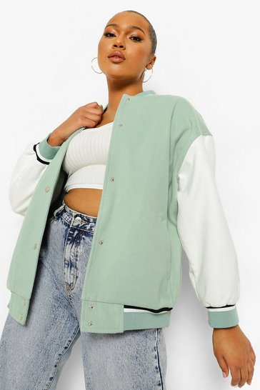 Sage green Plus Oversized Contrast Sleeve Varsity Jacket