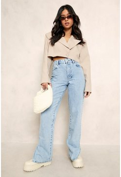 Light blue blue Petite High Waist Split Hem Jean
